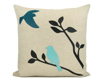 16x16 inches decorative pillow cover with birds in nature applique - Love birds throw pillow case - Aqua, black, teal and natural beige