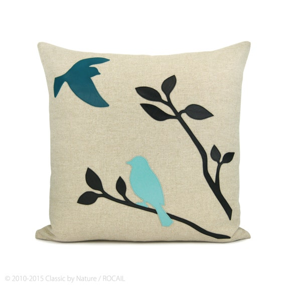 16x16 Decorative Pillow Covers : Items similar to 16x16 inches decorative pillow cover with birds in nature applique - Love birds ...