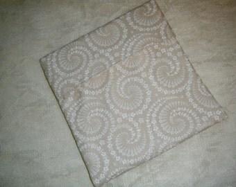 MICROWAVE POTATO BAG Pouch White Flower Swirls on Tan