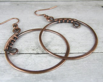 Copper Hoop Earrings Wire Wrapped, Hammered and Antiqued With Copper Wire Earrings
