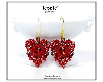 """Bead Pattern """"Iconic"""" Heart shaped Valentine Earrings with Swarovski and Superduo Tutorial"""