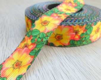 Morning Glory Flowers - Retro -Psychedelic-  Ribbon - 2 cm wide or 0.8 inch
