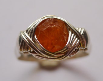 Orange Spessartine Garnet in Silver Wire Wrapped Ring, Sz. 9.5