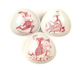 Danish Mod Nymolle Denmark Nut Candy Trinket Dishes: January, February, and December by Bjorn Winblad
