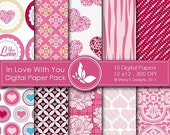50% off In Love With You Paper Pack - 10 Printable Digital papers - 12 x12 - 300 DPI