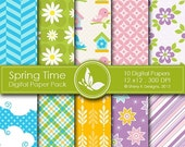 50% off Spring Time Paper Pack - 10 printable Digital Scrapbooking papers - 12 x12 - 300 DPI