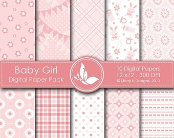 50% off Baby Girl Paper Pack - 10 Printable Digital paper - 12 x12 - 300 DPI