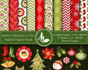 50% off Merry Christmas to You -10 Digital papers 12 x12 300 DPI - 19 Cliparts 5 x5 300 DPI