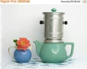 1 Vintage Drip Coffee Pot with  Filter, mint green, french coffee pot,Celadon Rustic French Decor