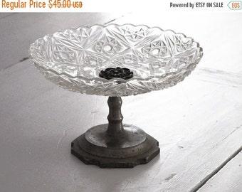 Clear Glass Pedestal / Antique Compote /Cake Stand / Vintage Glass Dessert Pedestal / Cupcake Stand Truffle Pedestal / Macaron Stand