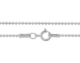 Ball Chain with clasp Sterling Silver 1.2mm 16 Inch  - 5pcs Neck chain (3101)/5