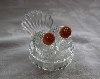 Individual Salt and Pepper Set, Salt and Pepper,  Art Deco, Salt and Pepper with Tray