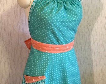 Womens Up-Cycled Apron - Peach and Aqua