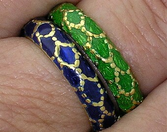 TIFFANY ENAMELED BANDS in Blue & Green 18k Yellow Gold, Size 6