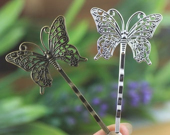 10pcs 36x25mm Bronze/Silver  Color Butterfly  Hair Clip On