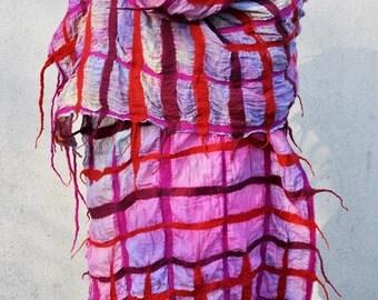 Beautiful shawl, Felted scarf, silk, wool, nuno felt scarf, felted, gift, fibre art, red, pink,