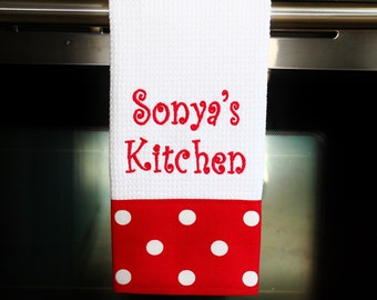 Personalized Kitchen Towel - Lipstick Red | Housewarming Gift | Hostess Gift | Gifts for Her | Wedding