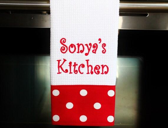 Personalized Kitchen Towel Lipstick Red Housewarming Gift