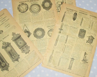 Antique French Catalog Pages Yellow Aged Paper Ephemera Clock Mantle Clock Thermometer Double Sided - Vintage (lot H)