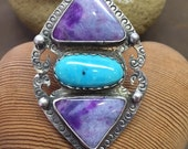 Sterling silver, turquoise and sugilite ring, one of a kind