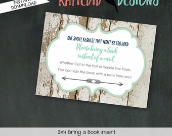 Bring a Book instead of a card insert INSTANT DOWNLOAD 1238 12120 printable insert enclosure card build a library hot air balloons world map