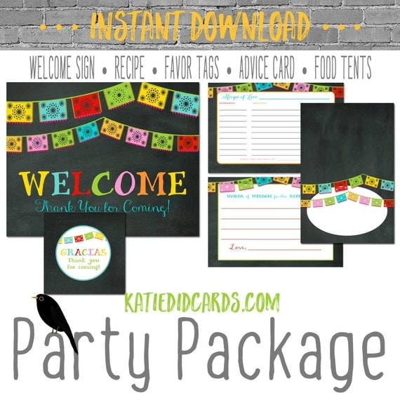 Engagement Fiesta chalkboard 301 package AS IS Instant Download Welcome sign wishes for baby favor tag tent advice card burlap chalkboard
