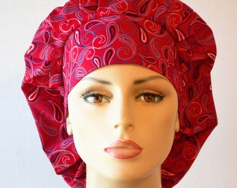 Bouffant Surgical Scrub Hat -Red Paisley Paradise