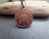 British Jewelry Coin Necklace From Scotland 2002 Genuine Penny in Copper, Travel Souvenir