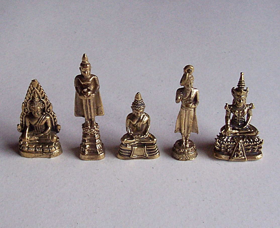 5 thai buddhist buddha small mini statues goldtone bronze for Craft and jewelry supplies