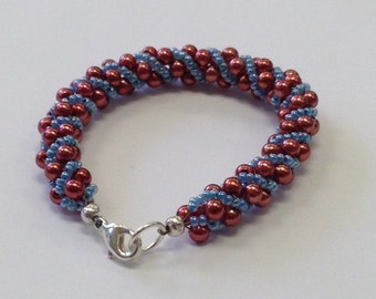 SpiralTwist Beaded Bracelet designed with Warm Red Czech Glass Pearls and Blue Luster Delica Miyuki Beads