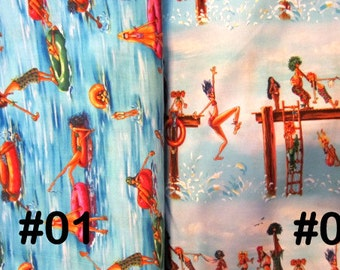 Summertime, Beach Party, Elizabeth's Studio Fabrics, Swimming, Pool