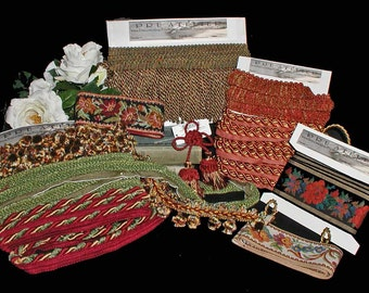Lot of 10 Different Trims Christmas For Stockings Decor - Bullion and Ball Fringe, Piping, Tapestry Tapes, Crimped Brush and Rosette Tassel