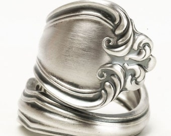 Silver Victorian Spoon Ring, Westmorland Sterling Silver Spoon Ring, 5th Anniversary Gift, Vintage 1940 George & Martha, Custom Ring (5841)