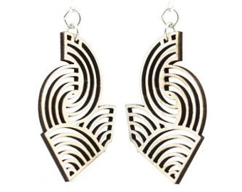 Air Wave Earrings - Laser Cut Earrings From Reforested Wood