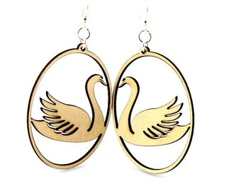 Swan In Oval - Wooden Earrings
