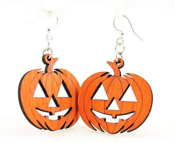 Jack O'Lantern Pumpkins - Laser Cut Wood Earrings