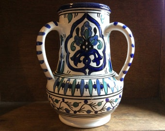 Vintage blue white hand painted 3 handle pottery vase jug circa 1960-70's / English Shop