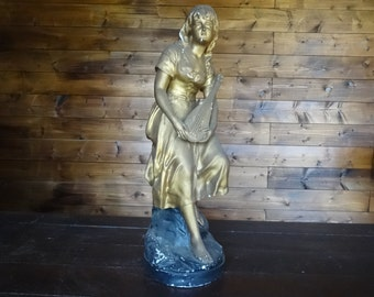 Vintage French Shepherd Shepherdess Mandolin gold large plaster statue figurine of girl circa 1940-50's / English Shop