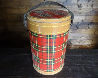 Vintage French large thermos tartan poly insulated portable fridge cooler drinks food camping picnic storage  circa 1960-70's / English Shop