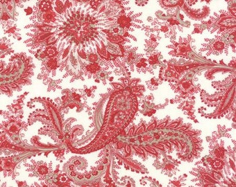 Miss Scarlet Ivory Red Floral Paisley by Minick & Simpson for Moda