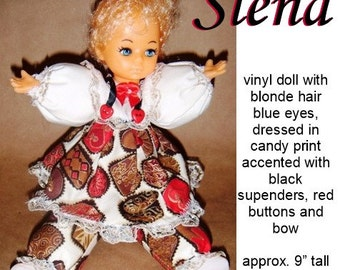 Slena, ooak Caucasion doll great for Christmas or Valentine's Day gift, dressed in chocolate print