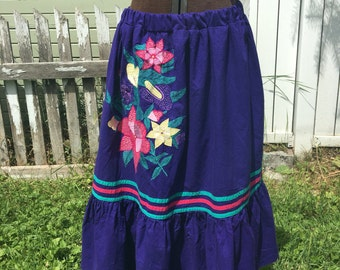 "Upcycled skirt ""Violet's violets"", side seam pockets, recycled, flower embroidery, floral garden, eco-friendly, boho, hippie, one-of-a-kind"
