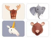 Felt Faux Taxidermy Patterns, PDF Sewing Bundle, Plush Stuffed Deer, Moose, Bear, Unicorn, Elephant, Discount 4 For 3