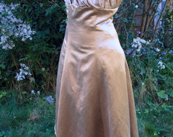 Hemp Silk Satin Charmeuse Demo Dress Beige Lt Brown Originally for Fashion Show One of a Kind