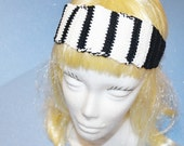 Black & White Head Band, Crochet, Adjustable, 100% Cotton,  Made in the U S A