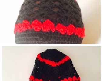 Crochet Hat/Beanie, Red & Black, Woman Accessory, Hand Made in the USA, Item No. BDE004