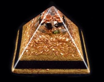 Moldavite Shungite Orgonite Pyramid with Tibetan Crystal, Phenacite, Merlinite, Elite Shungite, Tourmaline, Rhodizite, Selenite, Petalite