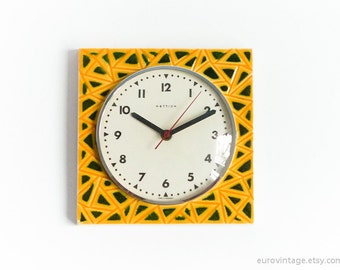 Vintage Ceramic Kitchen Wall Clock Yellow Green Wall Clock 60s 70s