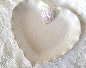 Ceramic Heart Plate - Cream Heart Plate - Valentine Gift - Handmade Heart Plate - Pottery Heart Plate - Heart Plate with hydrangeas