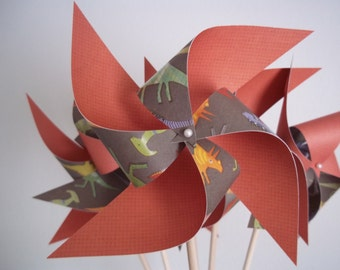 Dinosaur Paper Pinwheels. Boy Shower or Nursery Decor. (set of 8 large)